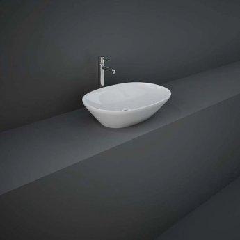 RAK Variant Oval Countertop Wash Basin 500mm Wide 0 Tap Hole - Alpine White