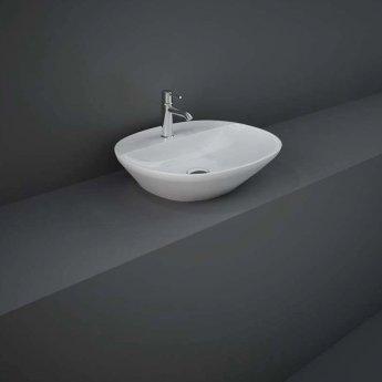 RAK Variant Oval Countertop Wash Basin 500mm Wide 1 Tap Hole - Alpine White