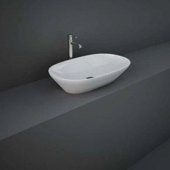 RAK Variant Oval Countertop Wash Basin 600mm Wide 0 Tap Hole - Alpine White