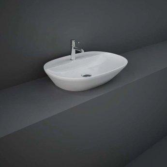 RAK Variant Oval Countertop Wash Basin 600mm Wide 1 Tap Hole - Alpine White