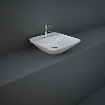 RAK Variant Square Countertop Wash Basin 420mm Wide 1 Tap Hole - Alpine White