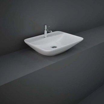 RAK Variant Rectangular Countertop Wash Basin 550mm Wide 1 Tap Hole - Alpine White