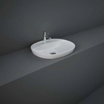 RAK Variant Oval Drop-In Wash Basin 500mm Wide 1 Tap Hole - Alpine White