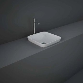RAK Variant Square Drop-In Wash Basin 360mm Wide 0 Tap Hole - Alpine White