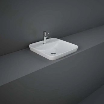 RAK Variant Square Drop-In Wash Basin 420mm Wide 1 Tap Hole - Alpine White