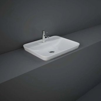 RAK Variant Rectangular Drop-In Wash Basin 550mm Wide 1 Tap Hole - Alpine White