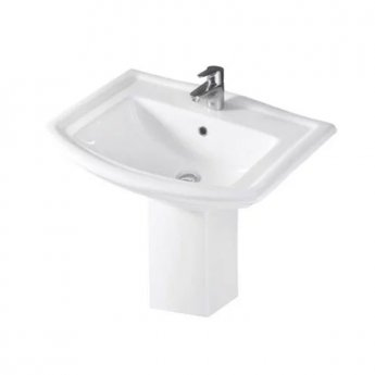 RAK Washington Basin with Semi Pedestal 650mm Wide - 1 Tap Hole