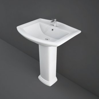 RAK Washington Basin with Full Pedestal 650mm Wide - 1 Tap Hole