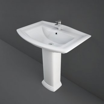 RAK Washington Basin with Full Pedestal 760mm Wide - 1 Tap Hole