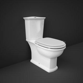 RAK Washington Close Coupled Toilet with Horizontal Outlet & Push Button Cistern - White Seat
