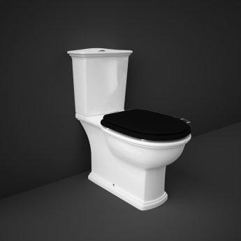 RAK Washington Close Coupled Toilet with Horizontal Outlet & Push Button Cistern - Black Seat
