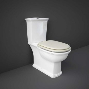 RAK Washington Close Coupled Toilet with Horizontal Outlet & Push Button Cistern - Greige Seat