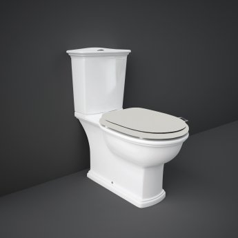 RAK Washington Close Coupled Toilet with Horizontal Outlet & Push Button Cistern - Greige Seat