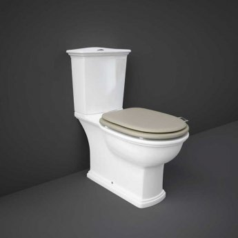RAK Washington Close Coupled Toilet with Horizontal Outlet & Push Button Cistern - Cappuccino Seat