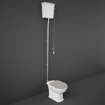 RAK Washington High Level Toilet with Horizontal Outlet - Cappuccino Soft Close Wood Seat