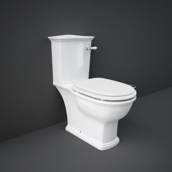 RAK Washington Close Coupled Toilet with Vertical Outlet & Lever Cistern - White Seat