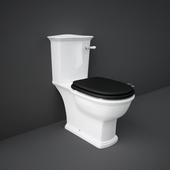 RAK Washington Close Coupled Toilet with Vertical Outlet & Lever Cistern - Black Seat