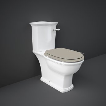 RAK Washington Close Coupled Toilet with Horizontal Outlet & Lever Cistern - Cappuccino Seat