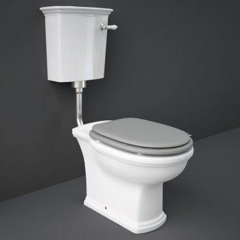 RAK Washington Low Level Toilet with Horizontal Outlet - Grey Soft Close Wood Seat