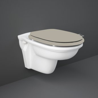RAK Washington Rimless Wall Hung Toilet 560mm Projection - Cappuccino Soft Close Wood Seat