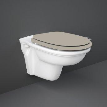 RAK Washington Rimless Wall Hung Toilet 560mm Projection - Cappuccino Soft Close Wood Seat