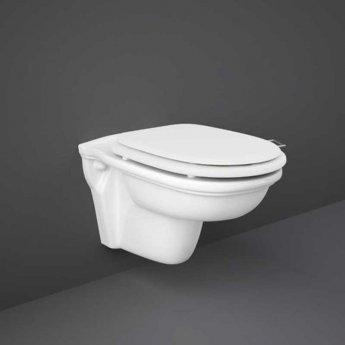 RAK Washington Wall Hung Toilet 560mm Projection - White Soft Close Wood Seat