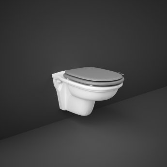 RAK Washington Wall Hung Toilet 560mm Projection - Grey Soft Close Wood Seat
