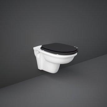 RAK Washington Wall Hung Toilet 560mm Projection - Black Soft Close Wood Seat