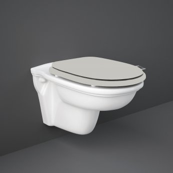 RAK Washington Wall Hung Toilet 560mm Projection - Greige Soft Close Wood Seat