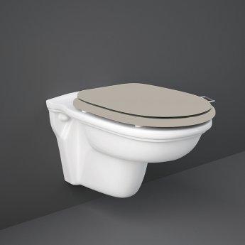 RAK Washington Wall Hung Toilet 560mm Projection - Cappuccino Soft Close Wood Seat