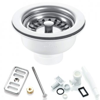 RAK 90mm Stainless Steel Waste and Overflow Pack (2 Quantity)
