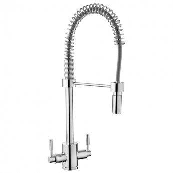 Rangemaster Aquatrend Spring Kitchen Sink Mixer Dual Lever Tap - Chrome