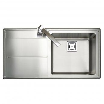Rangemaster Arlington 1.0 Bowl Kitchen Sink LH 985mm L x 508mm W - Stainless Steel