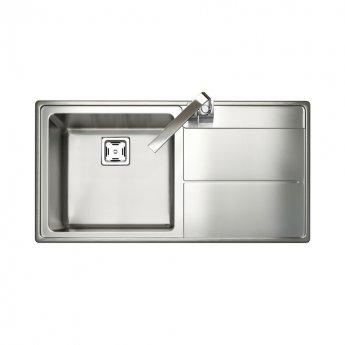 Rangemaster Arlington 1.0 Bowl Kitchen Sink RH 985mm L x 508mm W - Stainless Steel