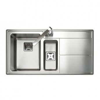 Rangemaster Arlington AR9852R 1.5 Bowl Kitchen Sink RH 985mm L x 508mm W - Stainless Steel