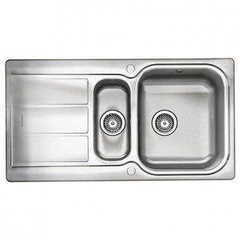 Rangemaster Glendale GL9502 1.5 Bowl Reversible Kitchen Sink 950mm L x 508mm W - Stainless Steel