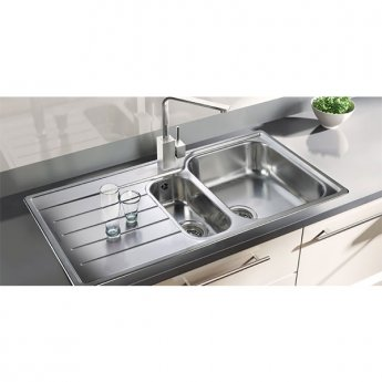 Rangemaster Manhattan MN10102L 1.5 Bowl Kitchen Sink LH 1010mm L x 515mm W - Stainless Steel