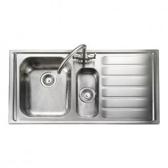 Rangemaster Manhattan 1.5 Bowl Kitchen Sink RH 1010mm L x 515mm W - Stainless Steel
