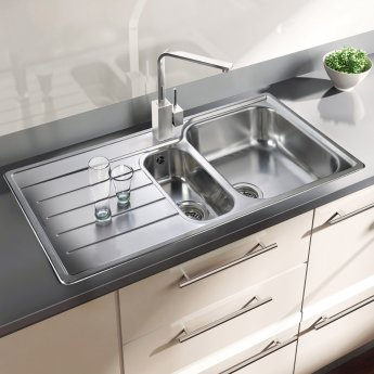 Rangemaster Oakland 1.5 Bowl Kitchen Sink LH 985mm L x 508mm W - Stainless Steel