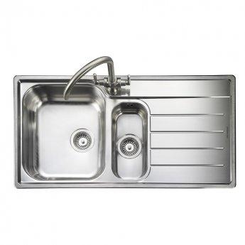 Rangemaster Oakland 1.5 Bowl Kitchen Sink RH 985mm L x 508mm W - Stainless Steel