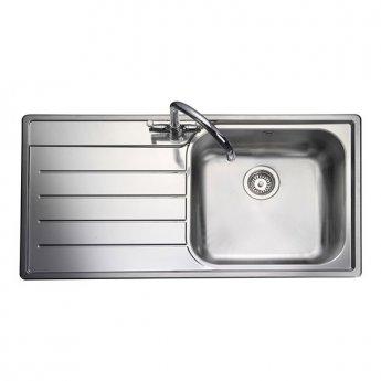 Rangemaster Oakland 1.0 Bowl Kitchen Sink LH 985mm L x 508mm W - Stainless Steel