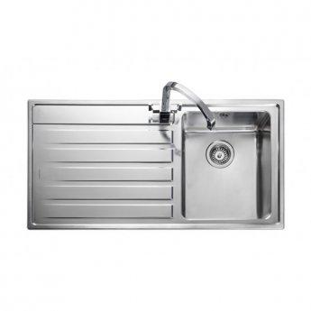 Rangemaster Rockford 1.0 Bowl Kitchen Sink LH Drainer 985mm L x 508mm W - Stainless Steel