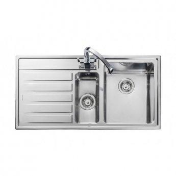 Rangemaster Rockford 1.5 Bowl Kitchen Sink LH Drainer 985mm L x 508mm W - Stainless Steel