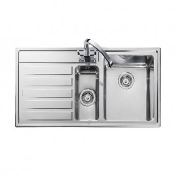 Rangemaster Rockford 1.5 Bowl Kitchen Sink RH Drainer 985mm L x 508mm W - Stainless Steel