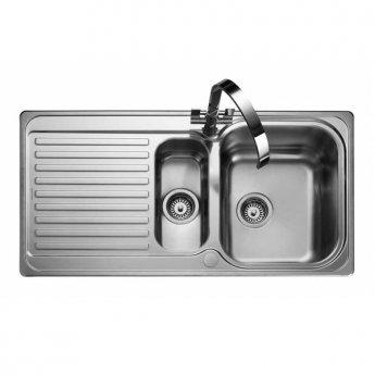 Rangemaster Sedona 1.5 Bowl Kitchen Sink 985mm L x 508mm W - Brushed Stainless Steel