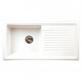 Reginox Ceramic 1.0 Bowl Inset Kitchen Sink 1010mm L x 525mm W with Waste - White