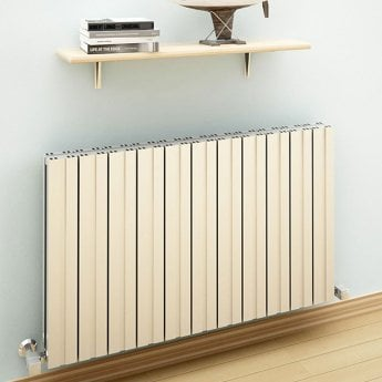 Reina Bova Double Horizontal Aluminium Radiator 600mm H x 470mm W White
