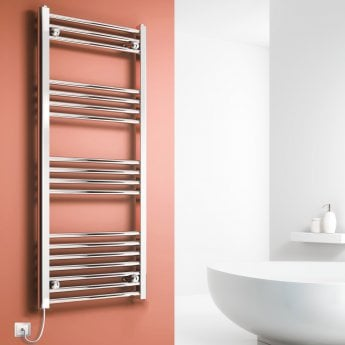 Reina Capo Straight Thermostatic Electric Heated Towel Rail 800mm H x 600mm W Chrome