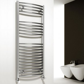 Reina Diva Curved Heated Towel Rail 1200mm H x 750mm W Chrome
