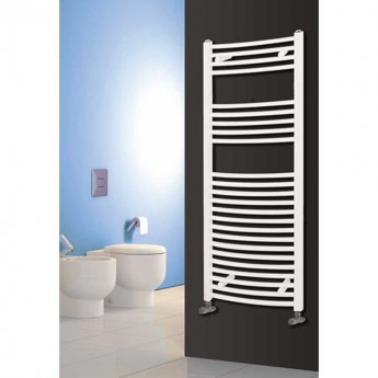 Reina Diva Curved Heated Towel Rail 800mm H x 500mm W White